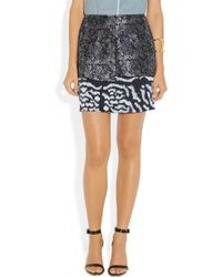 Michael van der Ham - Gray Layered Silk And Wool-Blend Jacquard Mini Skirt - Lyst