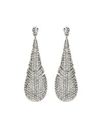 Mikey - Metallic Twin Oval Loop Crystal Drop Earring - Lyst