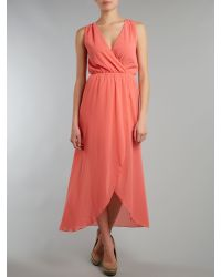 Sodamix - Orange Asymmetrical Chiffon Maxi Dress - Lyst