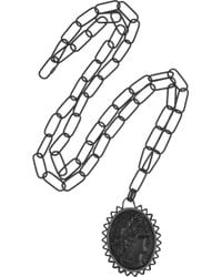 Bottega Veneta - Black Rutheniumplated Silver Cameo Necklace - Lyst