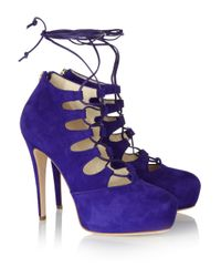 Brian Atwood | Purple Adara Laceup Suede Pumps | Lyst