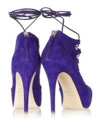 Brian Atwood - Purple Adara Laceup Suede Pumps - Lyst