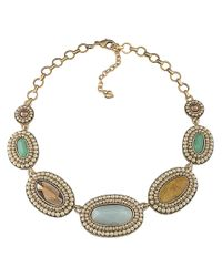 Carolee - Metallic Jade Faux Pearl Casted Collar Necklace - Lyst