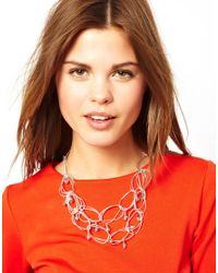 French Connection - Metallic Irregular Hoop Bead Drop Collar Necklace - Lyst