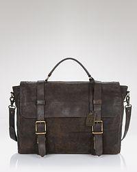 Frye - Brown Logan Antiqued Flap Briefcase for Men - Lyst