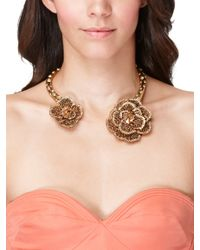 Oscar de la Renta | Metallic Crystal Flower Collar Necklace | Lyst