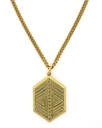 Vince Camuto - Metallic Tribal Fusion Goldtone Pendant Necklace - Lyst