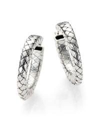 Bottega Veneta - Metallic Sterling Silver Woven Hoop Earrings - Lyst