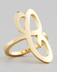 Jennifer Zeuner | Metallic Gold Single Initial Ring | Lyst