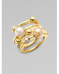 Majorica - Metallic 4mm Multicolor Round Pearl Endless Wrap Ring - Lyst