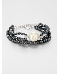 Majorica | Metallic 16Mm White Baroque Pearl, Hematite & Sterling Silver Four-Row Beaded Bracelet | Lyst