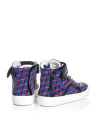 Pierre Hardy - Red Geoprint Velvet High Top Trainers for Men - Lyst