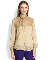 Ralph Lauren Blue Label | Natural Silk Annette Blouse | Lyst