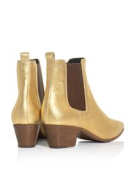 Saint Laurent - Metallic Leather Chelsea Boots - Lyst