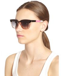 Sheriff & Cherry Pink Colorblock Wayfarer Rectangular Sunglasses