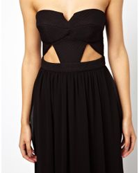 ASOS - Black Exclusive Maxi Dress With Textured Bodice And Cut Outs - Lyst