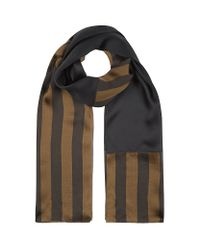 Fendi | Brown Pequin Print Silk Scarf | Lyst