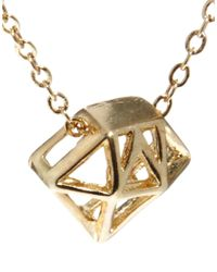 French Connection - Metallic Diamond Cage Short Pendant - Lyst