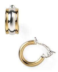 Lauren by Ralph Lauren - Metallic Two-Tone Clip On Huggie Hoop Earrings - Lyst
