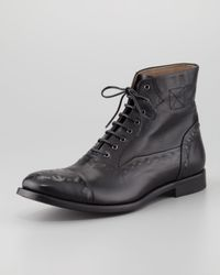 Alexander McQueen - Black Etched Leather Laceup Boot for Men - Lyst