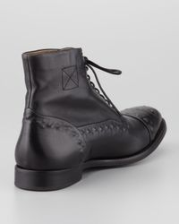 Alexander McQueen | Black Etched Leather Laceup Boot for Men | Lyst