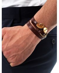 Alexander McQueen - Brown Double Wrap Leather Bracelet for Men - Lyst