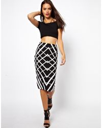 ASOS - White Pencil Skirt in Graphic Print - Lyst