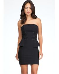 Bebe | Black Strapless Peplum Dress | Lyst