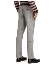 Brooks Brothers - Gray Slim Fit Fancy Fleece And Shears Embroidered Pants for Men - Lyst