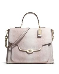 COACH | Gray Madison Sadie Flap Satchel in Embossed Lizard Leather | Lyst
