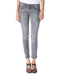 Current/Elliott - Gray The Shredded Stiletto Jeans - Lyst