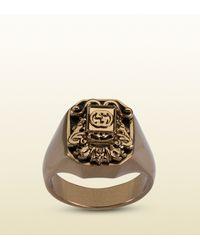 Gucci Metallic Vintage Crest Ring for men