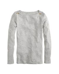 J.Crew | Gray Painter Boatneck Button Tee in Skinny Stripe | Lyst