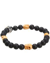 King Baby Studio - Metallic Onyx Bead Bracelet With 4 Bone Skull Stations for Men - Lyst