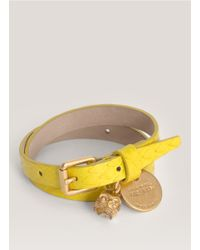 Alexander McQueen | Yellow Snake-effect Leather Wrap Bracelet | Lyst