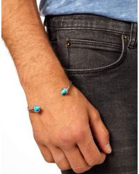 ASOS - Metallic Bangle with Turquoise Spikes for Men - Lyst