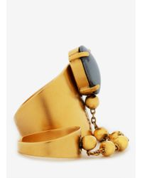 Ela Stone | Metallic Liad Chain And Stone Double Ring | Lyst