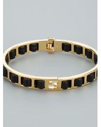 Fendi - Metallic Woven Leather Bracelet - Lyst