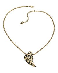 Guess | Metallic Large Leopard Heart Necklace | Lyst
