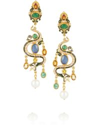 Percossi Papi - Metallic Snake Goldplated Multistone Earrings - Lyst