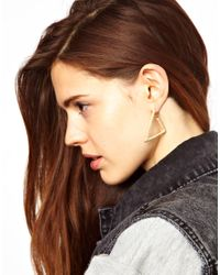ASOS | Metallic Limited Edition Textured Triangle Earrings | Lyst