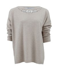 Blumarine - Natural Embroidered Boat Neck Jeweled Sweater - Lyst