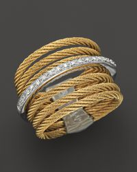 Charriol - White Classique Collection Nautical Cable Ring 09 Ct Tw - Lyst