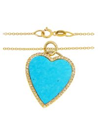 Jennifer Meyer - Metallic Turquoise Heart Necklace - Lyst