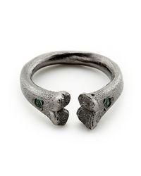 Rachel Entwistle - Gray Black Silver Bone Ring With Emeralds - Last One - Lyst