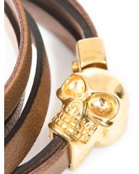 Alexander McQueen | Brown Double Wrap Leather Skull Bracelet for Men | Lyst