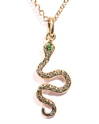 Ileana Makri - Pink Diamond, Tsavorite & Gold Snake Necklace - Lyst