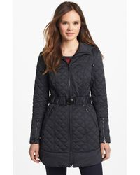 Laundry by Shelli Segal | Black Quilted Coat with Detachable Vest Insert | Lyst