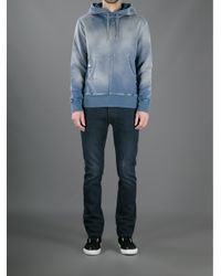 Balmain - Blue Hooded Sweater for Men - Lyst