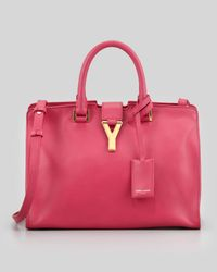 Saint Laurent - Purple Cabas Yligne Mini Leather Carryall Bag Pink - Lyst